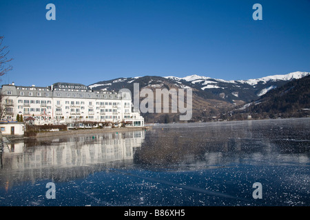 Zell am See Austria EU January View across the frozen Zeller See lake towards the Thumersbach area on the opposite - Stock Photo