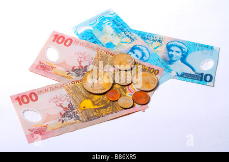 New Zealand paper currency and coins - Stock Photo