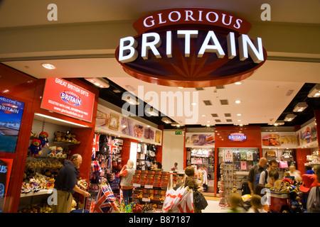 'Glorious Britain' souvenir shop in the departure lounge at London Heathrow airport Terminal 3. - Stock Photo
