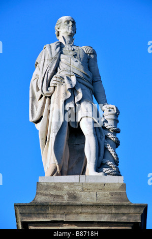 lord collingwood statue tynemouth northumberland - Stock Photo