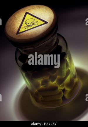 Bottle of poison pills - Stock Photo