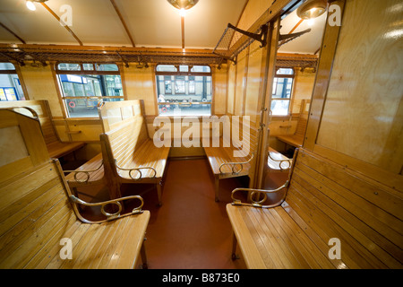 Interior of a Dutch International early 20th century railway carriage, made 1923 in Haarlem by Beynes. 3rd class - Stock Photo