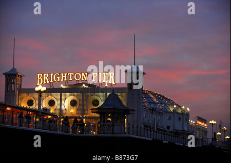 Brighton Pier at dusk with the night life just starting. Picture by Jim Holden.