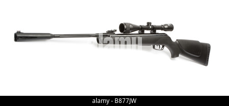Air rifle with telescopic sight and silencer. - Stock Photo
