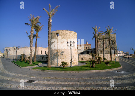 italy, sardinia, alghero, catalan walls, powder tower - Stock Photo
