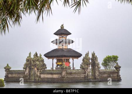 Ulun Danu Temple on Beretan Lake Bali Indonesia - Stock Photo