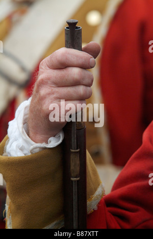 Close-up of the hand and firelock of a Grenadier at the 2008 re-enactment of the Battle of Prestonpans - Stock Photo