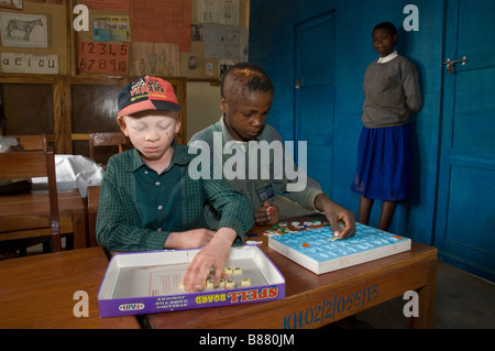 Children with intellectual disabilities playing games in school, Mabogini,  Kilimanjaro Region,  Tanzania - Stock Photo