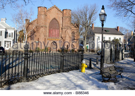 Salem Witch Museum in Salem Massachusetts USA which is part of New England The Statue of Roger Conant can be seen - Stock Photo