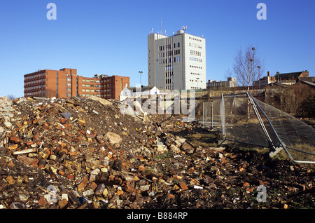 Demolished Buildings And Urban Wasteland In Brownbelt Area Awaiting Development In Hanley Stoke-on-Trent Staffordshire - Stock Photo