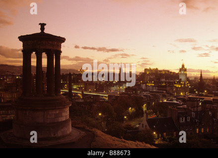dusk panorama view of edinburgh from carlton hill - Stock Photo