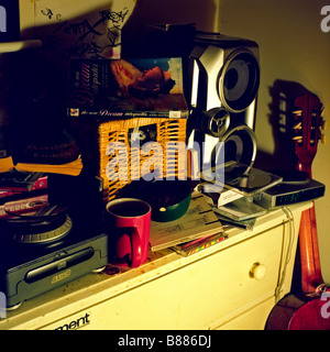 Still life of a messy teenagers room - Stock Photo