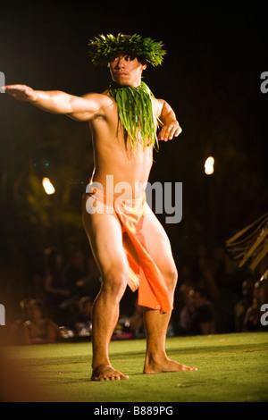 Dancers at the Old Lahaina Luau, Lahaina, Maui, Hawaii - Stock Photo