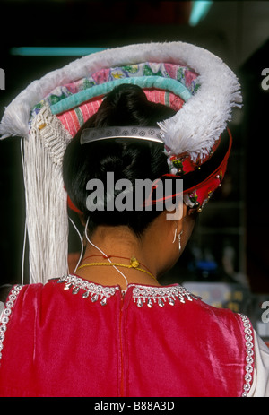 1, one, Chinese woman, Bai woman, Bai people, Bai ethnicity, ethnic minority, adult woman, wearing hat, Dali, Yunnan - Stock Photo