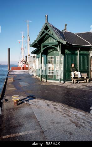 Feb 12, 2009 - Neumühlen ferry pier in the German city of Hamburg. - Stock Photo
