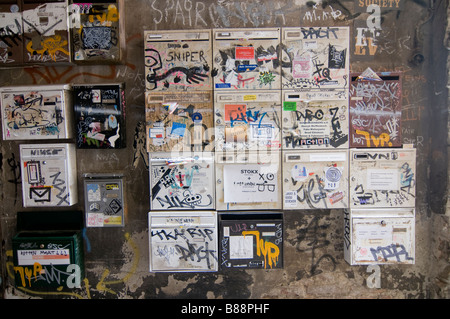 Postboxes full of Graffiti in the famous Hackescher Markt Berlin GermanyBerlin - Stock Photo