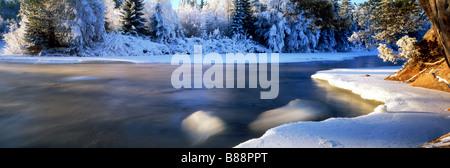 Dal River in winter in Dalarna Provence of Sweden - Stock Photo