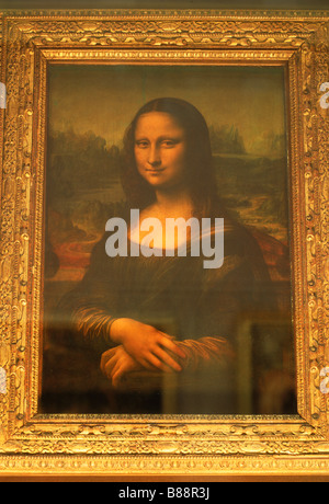 Mona Lisa by Leonardo da Vinci in Grand Gallery of the Louvre Museum in Paris - Stock Photo
