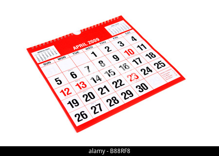 A calendar page with April 1st ringed to mark April Fools Day - Stock Photo