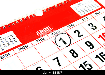 Calendar at the month of April with a black ring around the 1st April Fools Day - Stock Photo