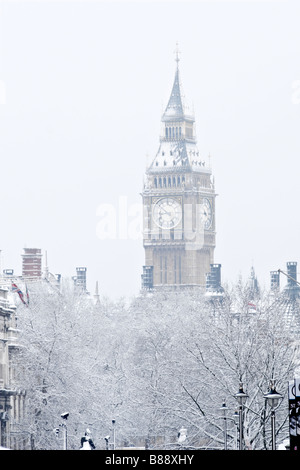 Big Ben in snow London - Stock Photo