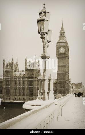Big Ben in snow - Stock Photo