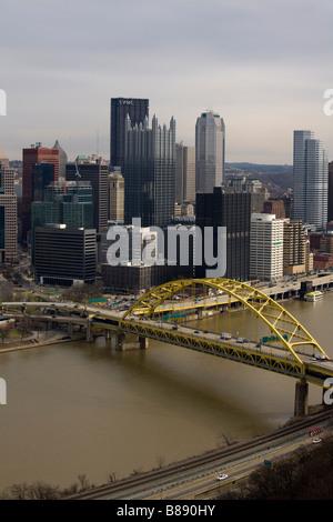 Fort Pitt Bridge across the Monongahela River and downtown Pittsburgh - Stock Photo