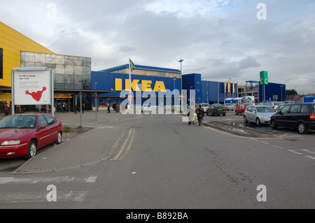 dh ikea superstore europe ikea car park flags and shop front entrance stock photo royalty free. Black Bedroom Furniture Sets. Home Design Ideas