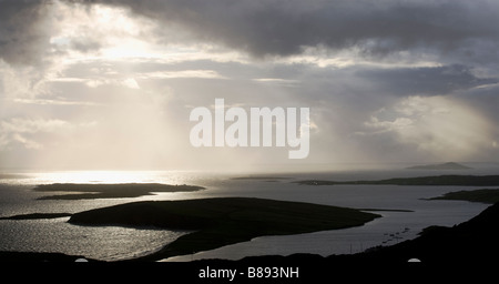 Dramatic Sunset over the County Galway Coastline and the Islands of the West of Ireland near the town of Clifden, - Stock Photo