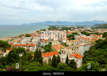 A fine view over roofs of the small coastal town of Sperlonga, Lazio, Italy, Europe. - Stock Photo