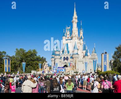 Cinderella Castle, Magic Kingdom, Walt Disney World Resort, Lake Buena Vista, Orlando, Florida, USA - Stock Photo