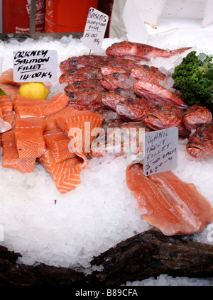 Fish stall at the Borough Market London February 2009 - Stock Photo