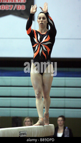 Elizabeth tweddle top british gymnast performs on beam at the 2008 british gymnastics championships - Stock Photo