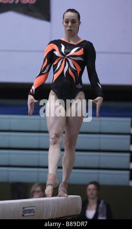 Elizabeth beth tweddle top british gymnast performs on beam at the 2008 british gymnastics championships - Stock Photo