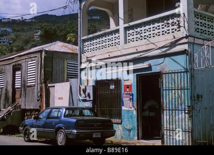 a bar in a back street of Charlotte Amalie ST Thomas Island American Virgin Islands Caribbean - Stock Photo