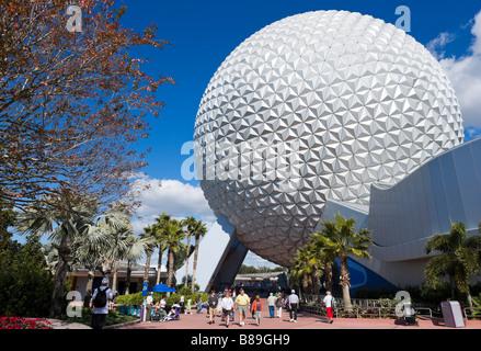 The geodesic sphere of Spaceship Earth, Epcot Center, Walt Disney World Resort, Lake Buena Vista, Orlando, Florida, - Stock Photo