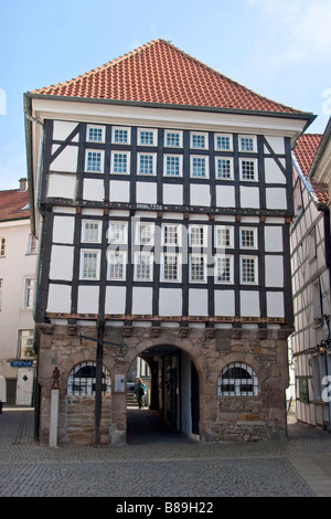 Old City Hall, Traditional German architecture in the old town of Hattingen, Germany - Stock Photo