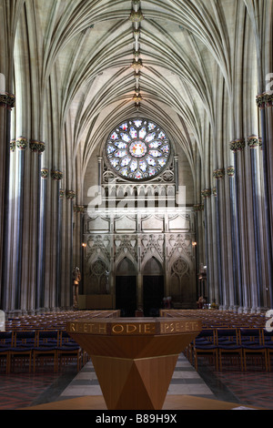 The vaulted ceiling and Rose Window above the nave inside Bristol Cathedral, Bristol, UK - Stock Photo