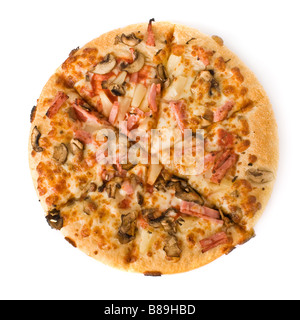 Pizza with mushrooms, ham and pineapple isolated on white - Stock Photo