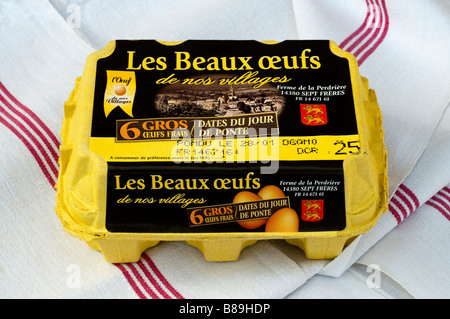 French carton / box of 6 large fresh farm eggs. - Stock Photo