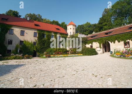 Pieskowa Skala Castle in Ojcow NP of Poland Pieskowa Rock (Eagles Nests) Poland - Stock Photo