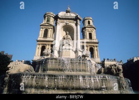 France Paris St Sulpice Church Left Bank Place Saint Sulpice - Stock Photo