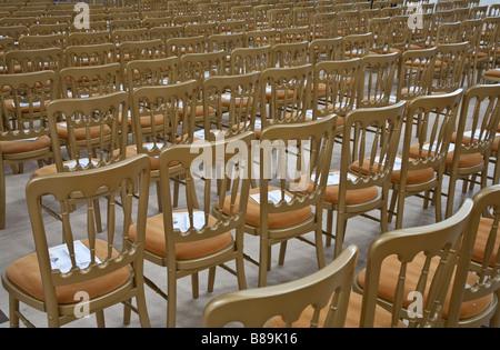 Chairs. Gorton Monastery, Gorton, Greater Manchester, United Kingdom. - Stock Photo