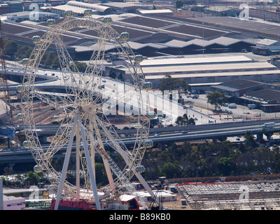 AERIAL VIEW OF SOUTHERN CROSS FERRIS WHEEL  FROM RIALTO TOWERS MELBOURNE VICTORIA AUSTRALIA - Stock Photo