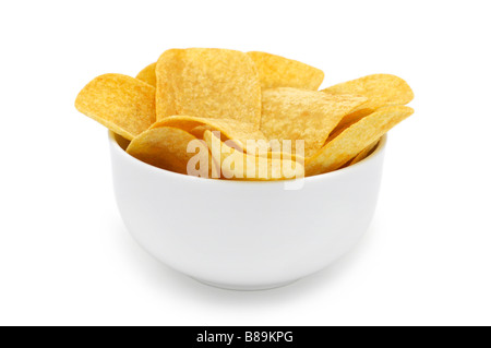 Bowl of Potato Crisps/Chips - Stock Photo