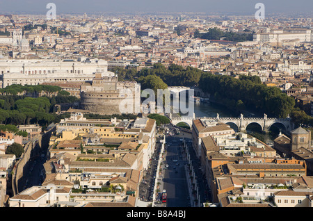 Rome - angels castle and bridge from cupola of st. Peters cathedral - Stock Photo