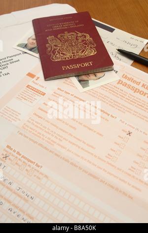 UK British passport application form and photograph photo Stock ...