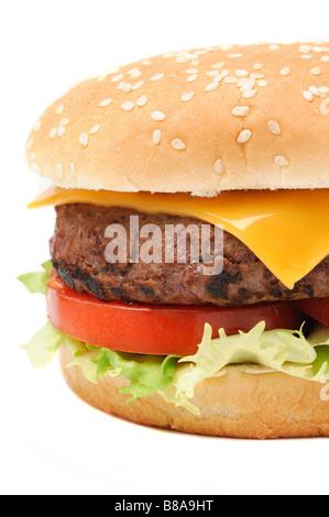 Closeup of a tasty hamburger isolated on white background - Stock Photo