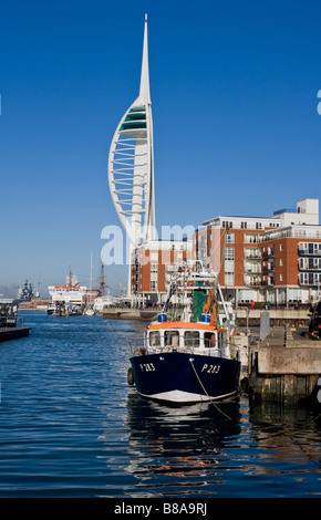 Spinnaker Tower  from Camber Docks Portsmouth Hampshire - Stock Photo