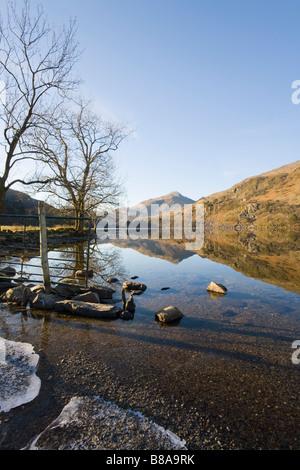 Nant Gwynant Gwynedd North Wales UK View along Llyn Gwynant lake to Yr Aran in Snowdonia 'National Park' in winter